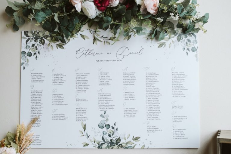 Seating Chart | Bottom Lounge Weddings | Cate & Dan | Photographer: Meg Adamik