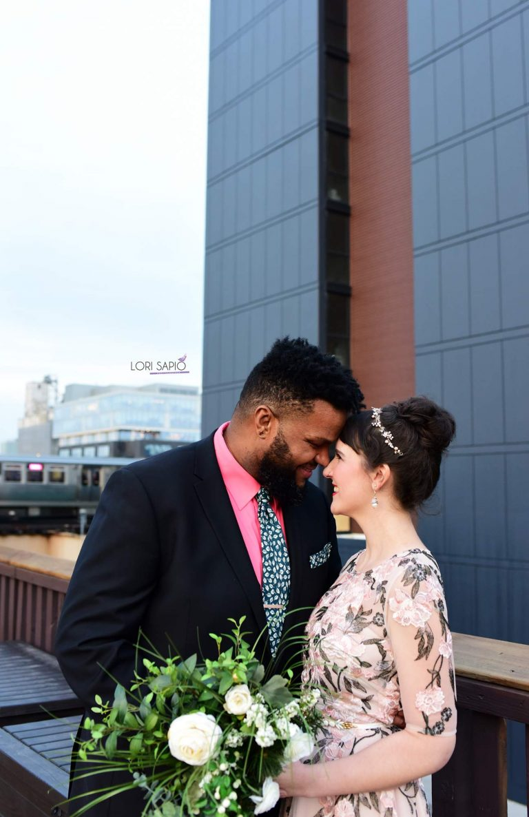 Rooftop Portrait | Bottom Lounge Weddings | Alicia & Roy | Photographer: Lori Sapio