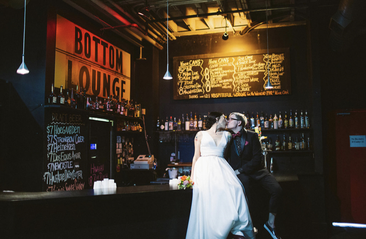 Bar   Bottom Lounge Weddings   Joanna & Ptree   Photographer: Rachel Goble